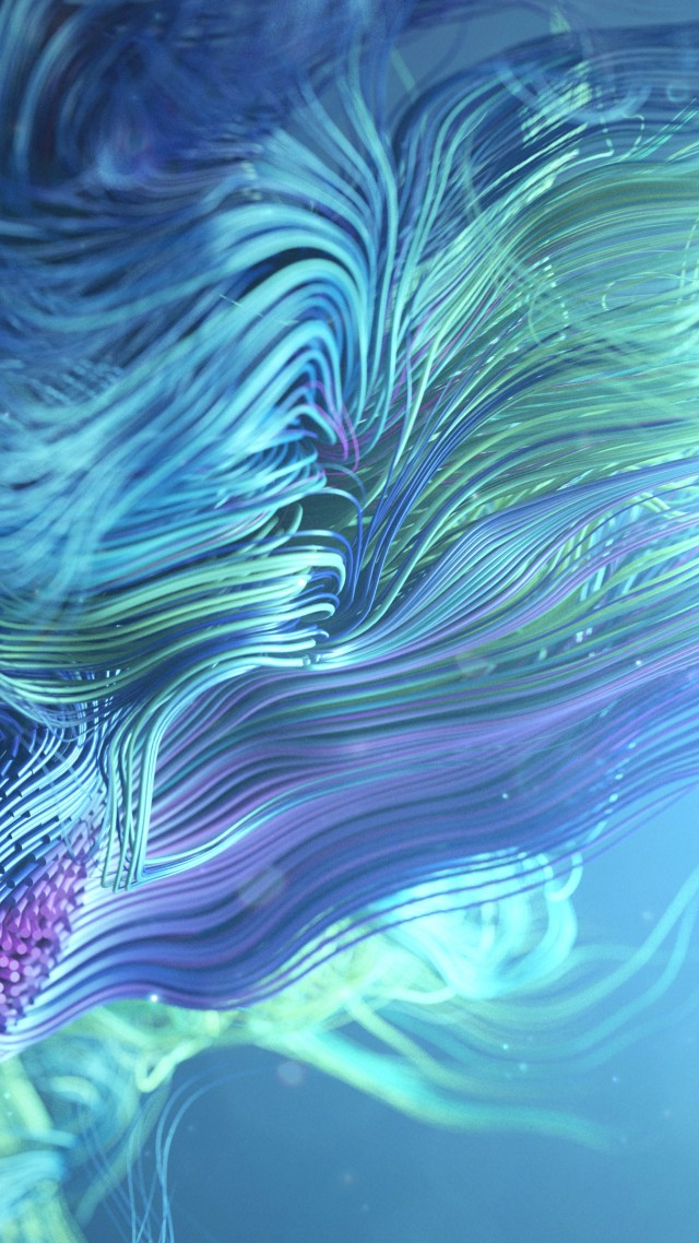 волны, линии, waves, lines, abstract, 3D, colorful, 4K (vertical)