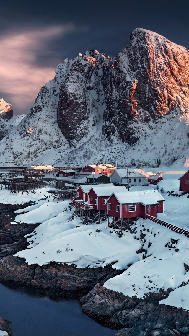 Норвегия, 4k, HD, деревня, снег, village, 4k, HD wallpaper, Hamnoy, Norway, sunset, water (vertical)