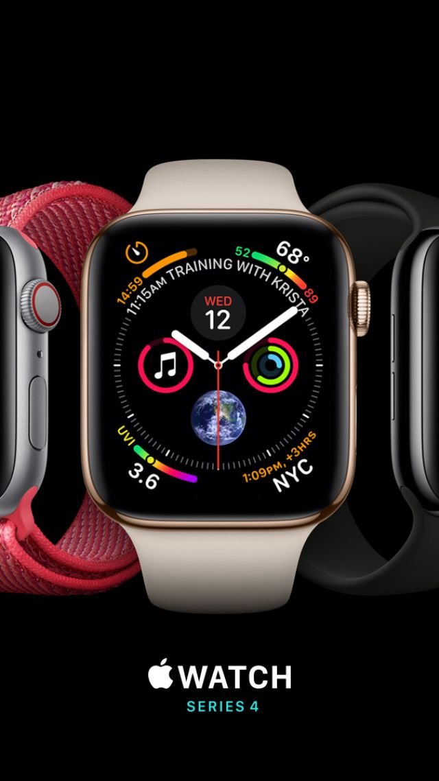 Apple Watch Series 4, silver, gold, black, Apple September 2018 Event, Apple Watch Series 4, silver, gold, black, Apple September 2018 Event (vertical)