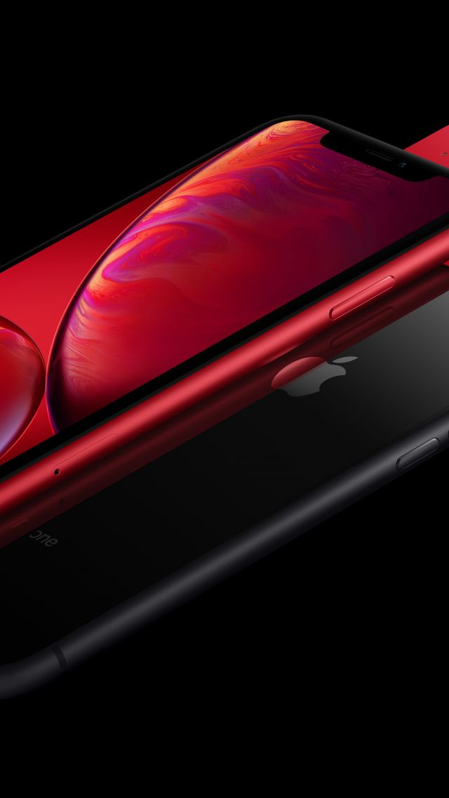обои айфон Xr красный черный Iphone Xr Red Black 5k