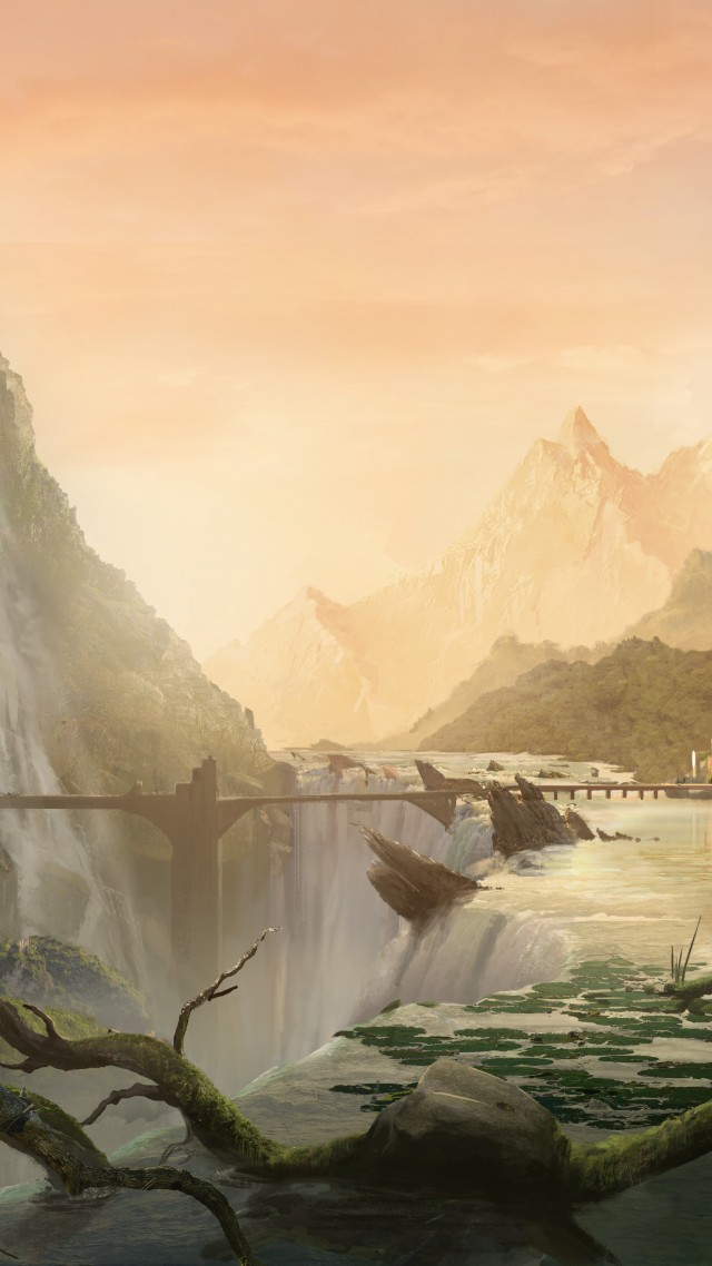 , matte painting, art, village, city, forest, waterfall, bridge, river