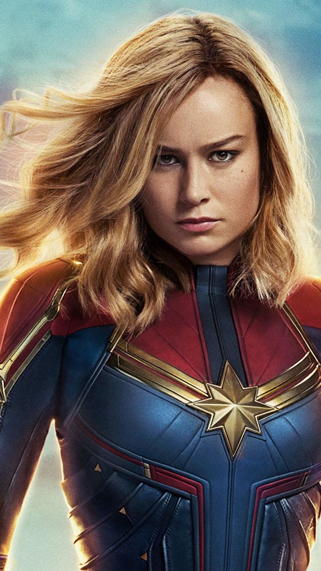 Капитан Марвел, Captain Marvel, Brie Larson, 4K (vertical)