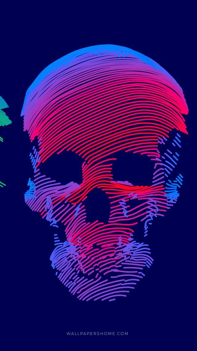 абстракция, abstract, 3D, colorful, skull, 8k (vertical)