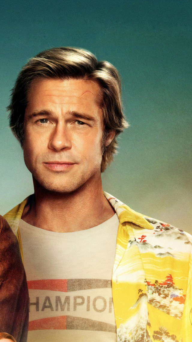 Однажды в Голливуде, Once Upon A Time In Hollywood, Brad Pitt, Leonardo DiCaprio, 4K (vertical)