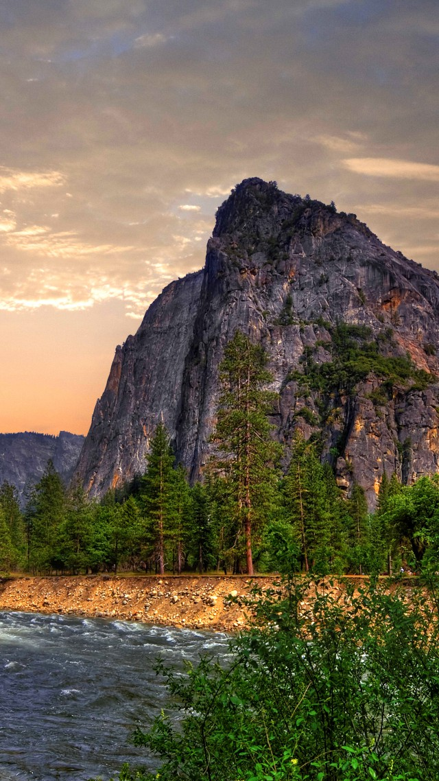 Обои Эпл, лес, горы, водопад, Yosemite, 5k wallpapers, forest, OSX, waterfall, apple, mountains