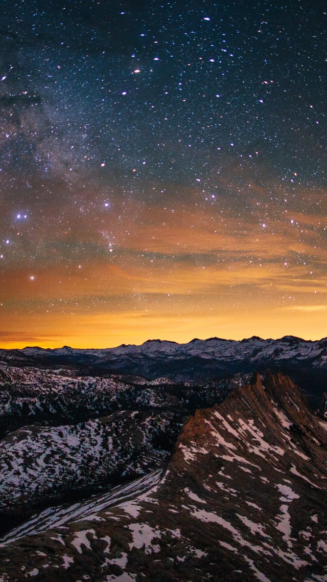 Обои Эпл, лес, горы, закат, звезды, Yosemite, 5k wallpapers, forest, stars, sunset, OSX, apple, mountains