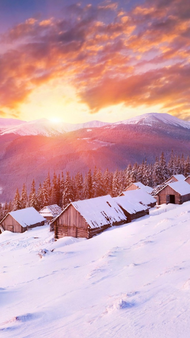 Горы, 5k, 4k, холмы, закат, снег, зима, дом, Mountains, 5k, 4k wallpaper, hills, sunset, snow, winter, house (vertical)