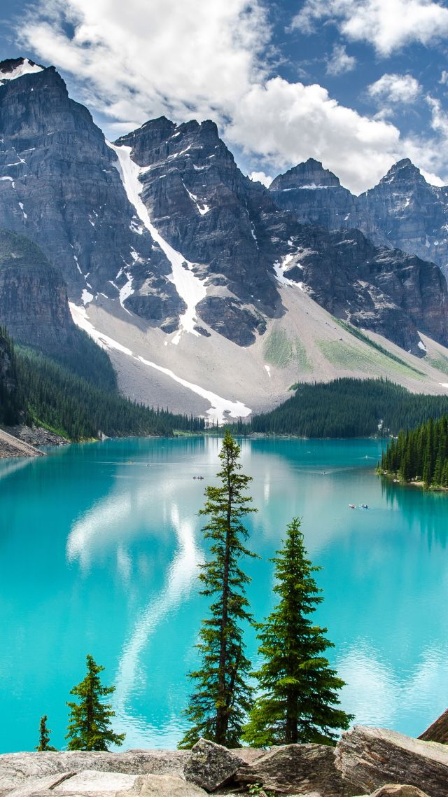Морейн Озеро, Канада, горы, озеро, Moraine Lake, Canada, mountains, lake