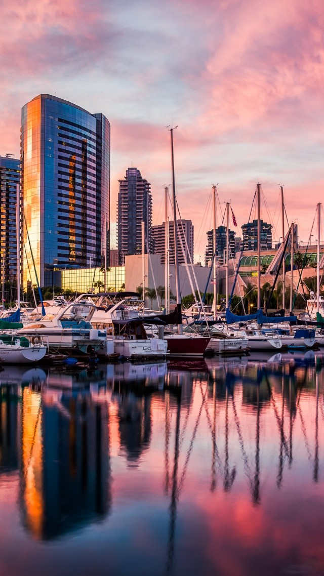 сан диего, закат, рассвет, вода, отражение, город, причал, San Diego, harbor, Sunset, sunrise, water, reflections, city, travel (vertical)
