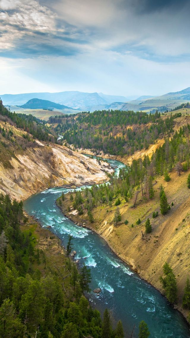 Йеллоустон, 4k, 5k, США, речка, туризм, путешествие, Yellowstone Landscape, 4k, 5k wallpaper, USA, river, travel, tourism (vertical)