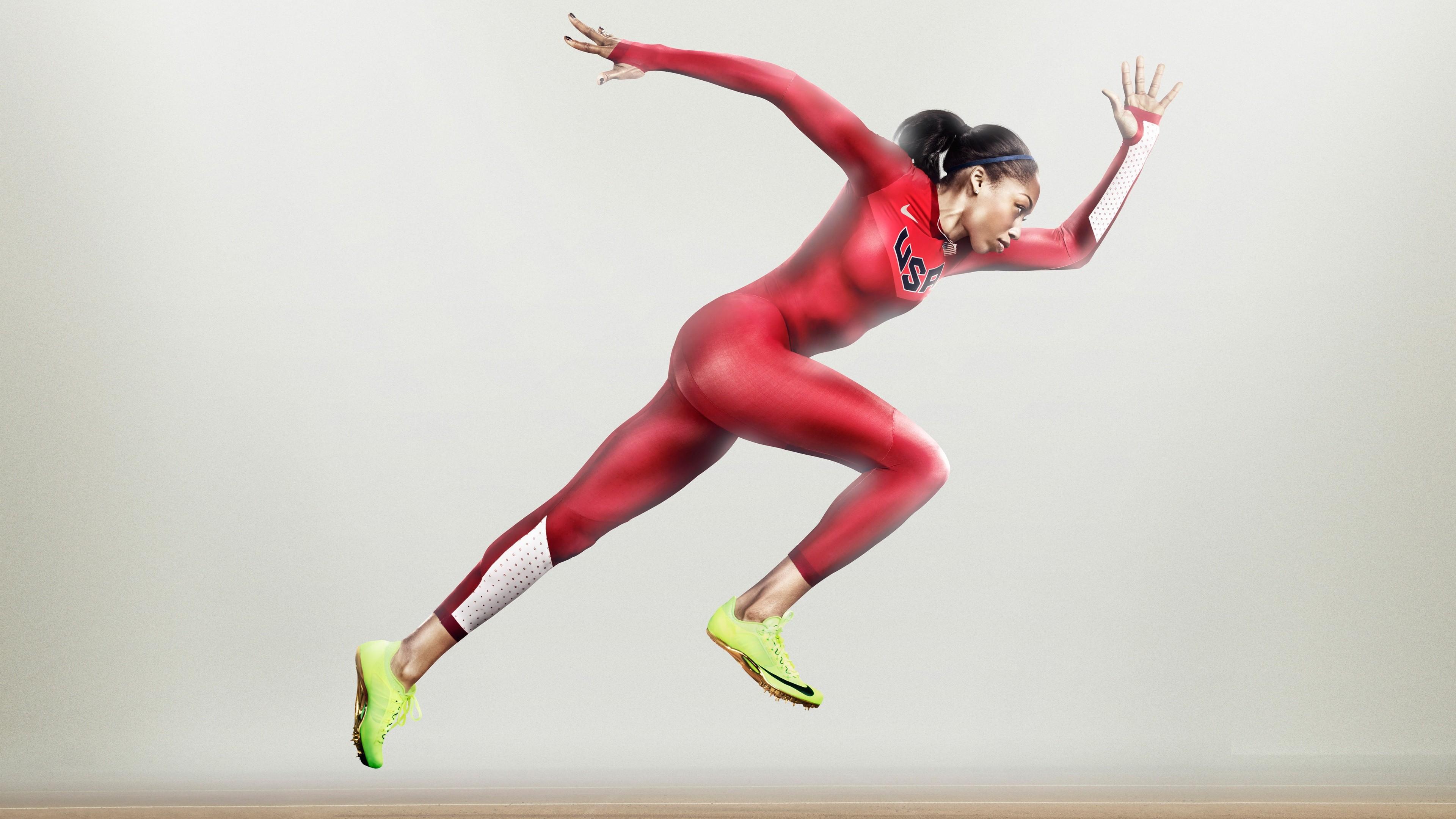 обои элиссон феликс найк бег атлет женщина красный
