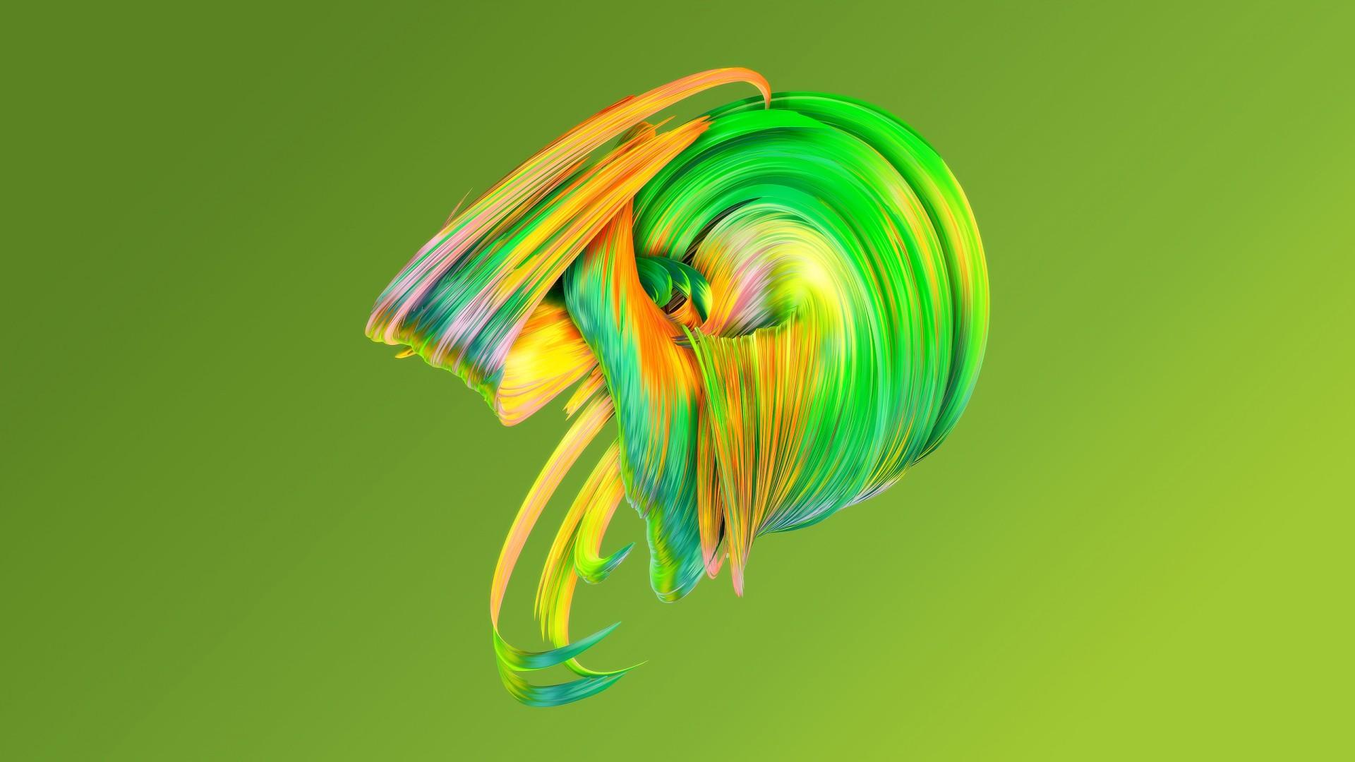 Обои краска, зеленый, HD, abstract, Paintwaves, green, ОС