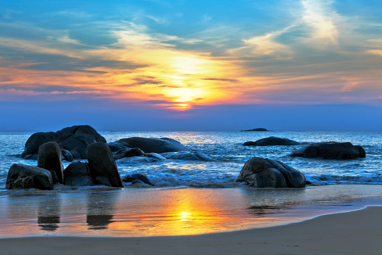 закат море берег камни загрузить