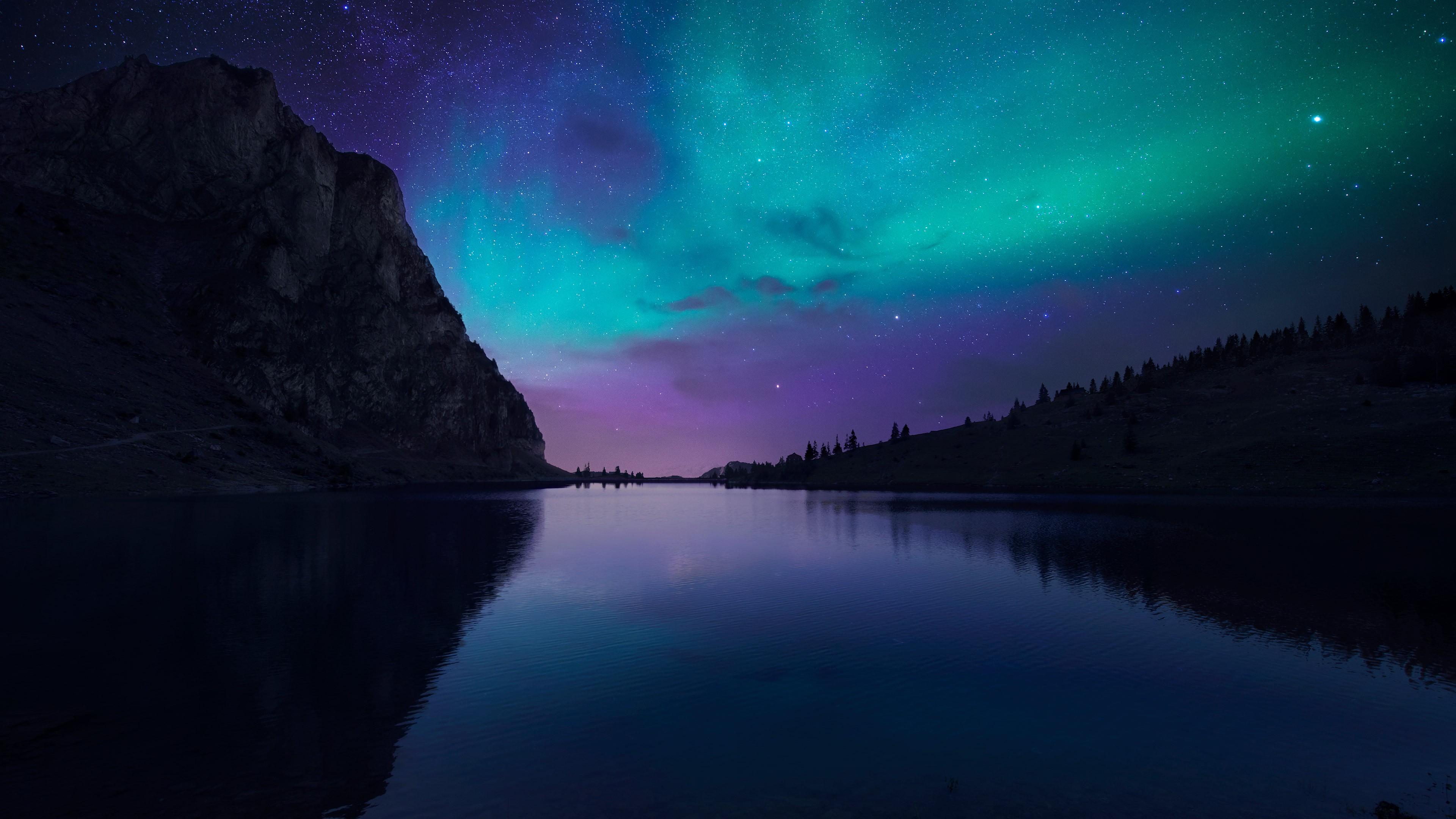 Обои Озеро Аврора 4k Hd Флорида ночь звезды небо