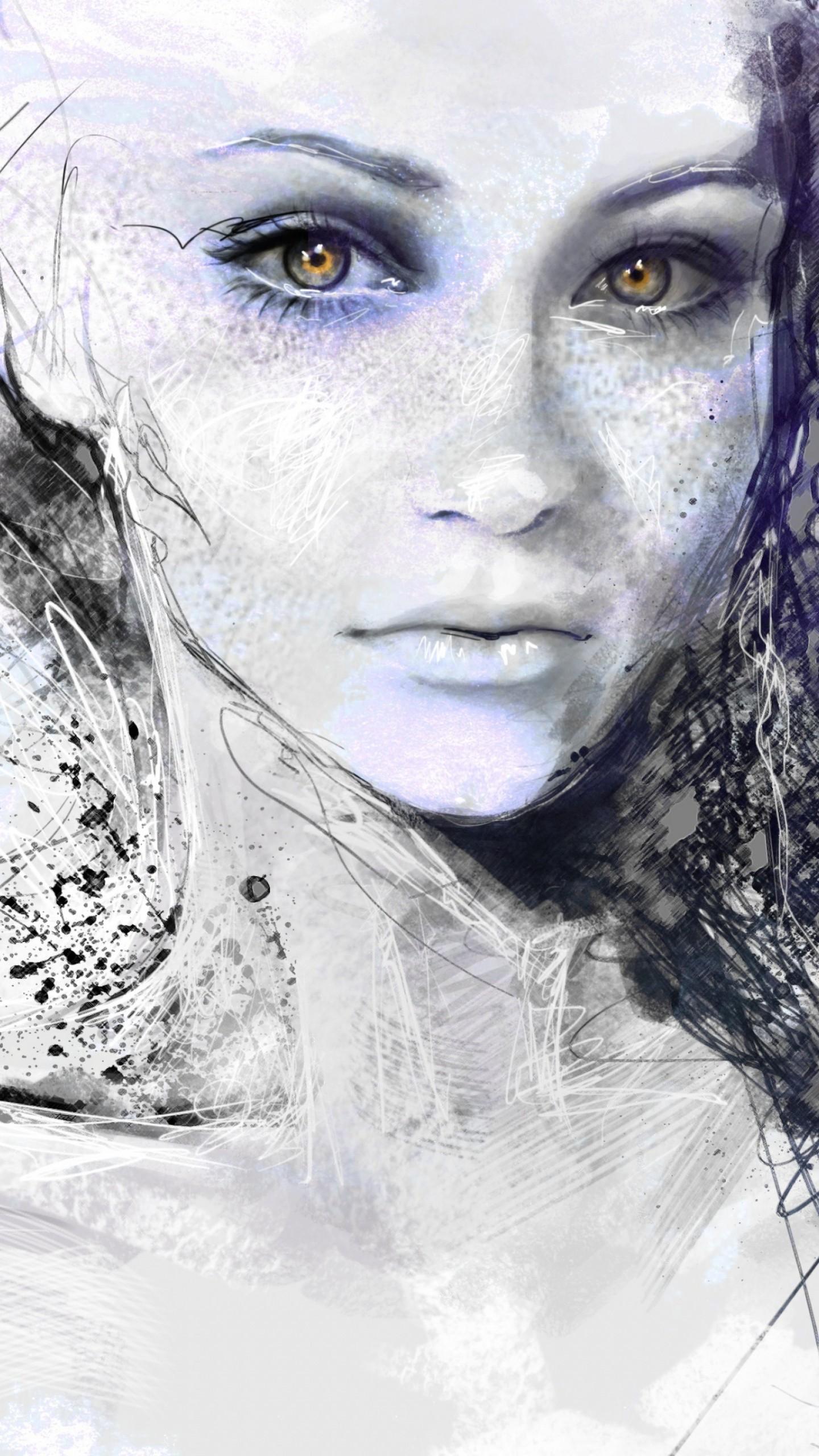 Обои портрет, девушка, рисунок, girl, portrait, art ... энн хэтэуэй фильмы